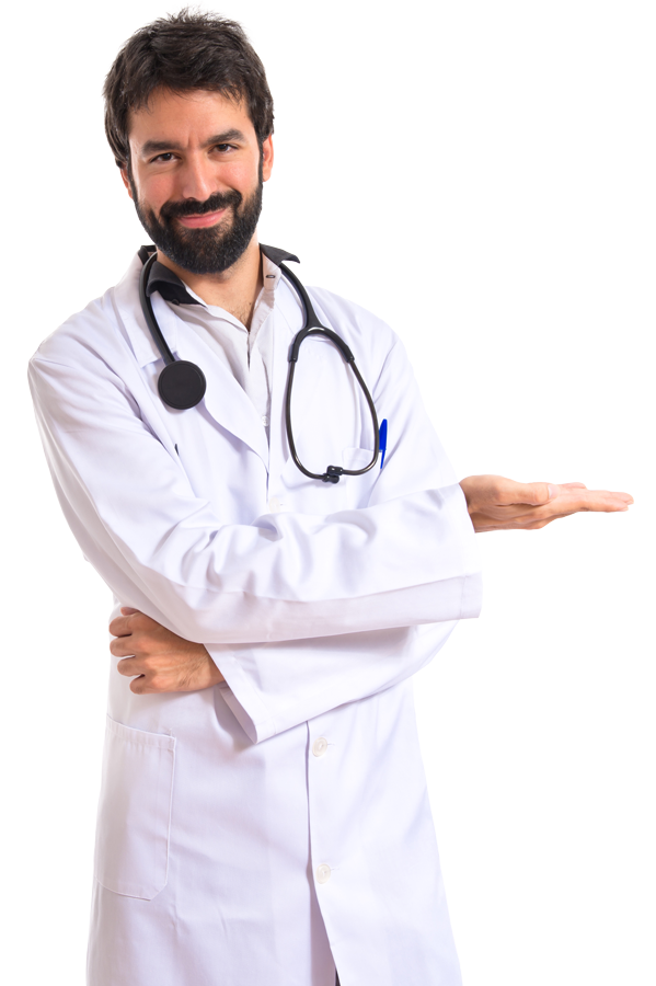 doctor pointing to text